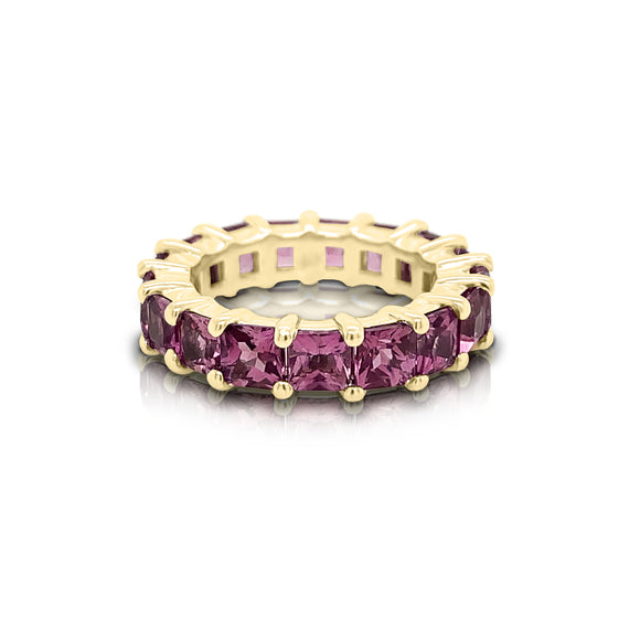 14K Gold Princess Cut Pink Tourmaline (4MM) Eternity Ring