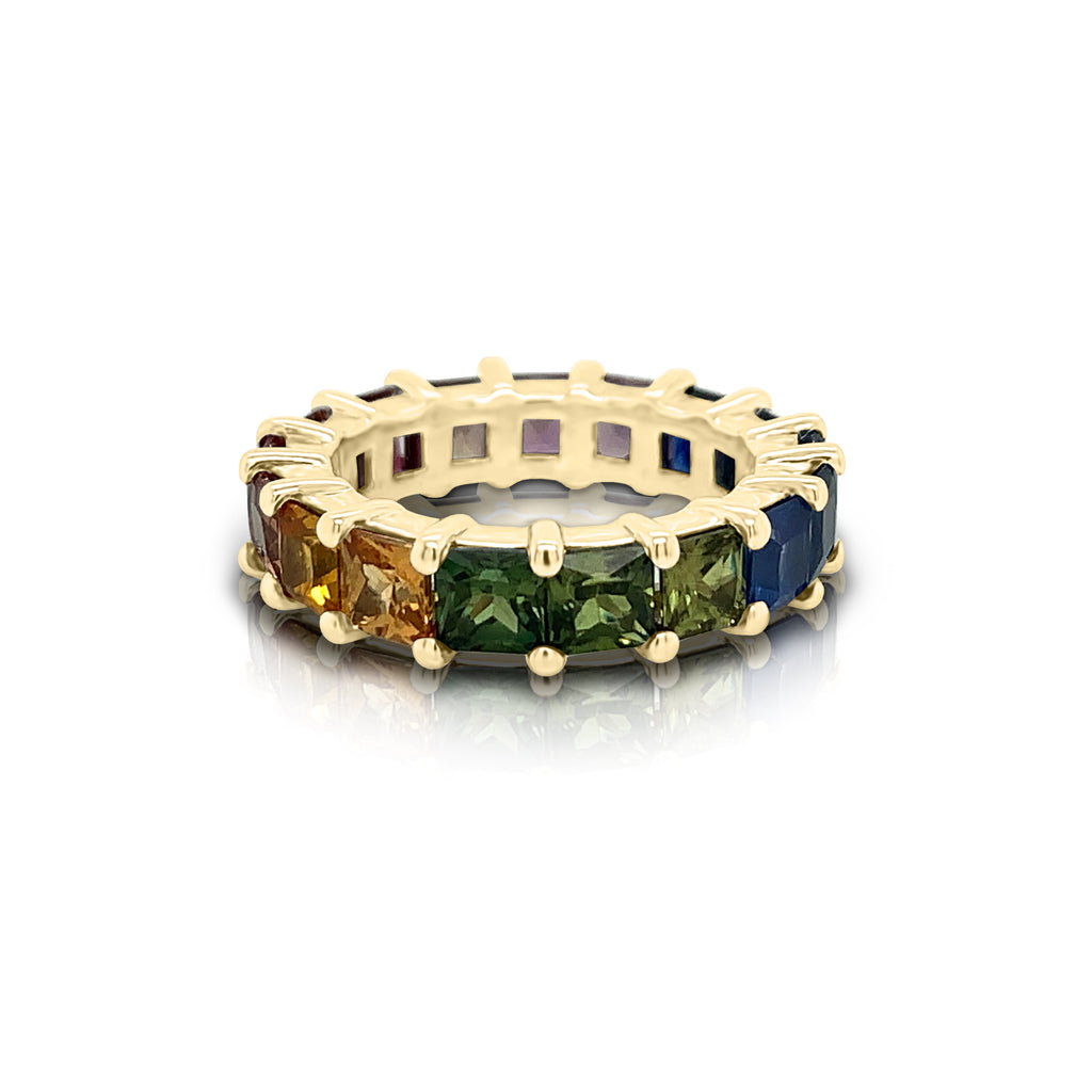14K Gold Rainbow Multicolor Sapphire (4MM) Eternity Ring