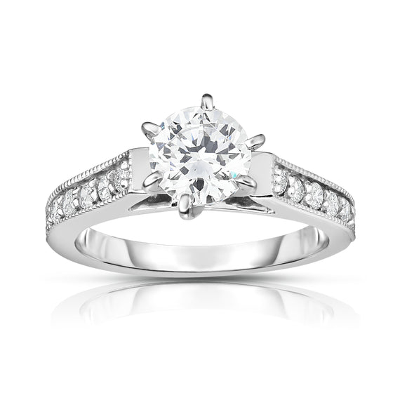 GIA Certified 14K White Gold Diamond (1.20 Ct, G Color, SI2 Clarity) 6-Prongs Engagement Ring