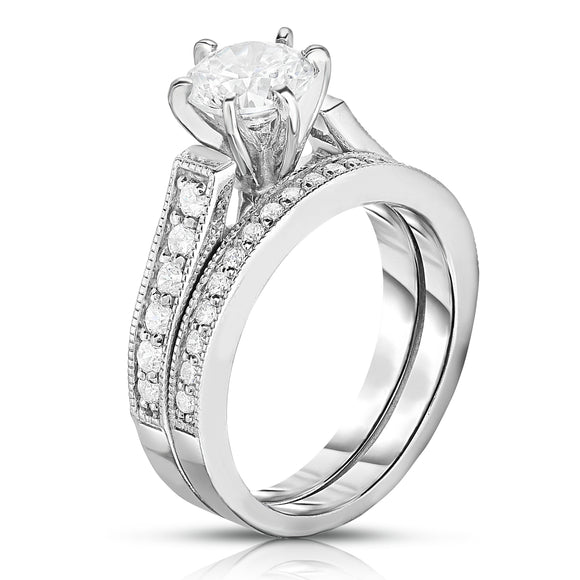 GIA Certified 14K White Gold Diamond (1.40 Ct, G Color, SI2 Clarity) 6-Prongs Engagement Ring Set