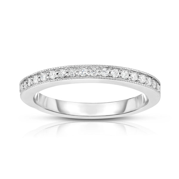 14K White Gold Diamond (0.20 Ct, G-H Color, SI2-I1 Clarity) Milligrain Wedding Band
