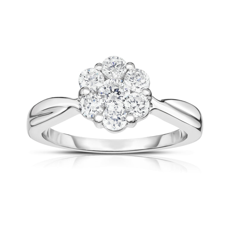 14K White Gold Diamond (1.00 Ct, G-H Color, I1-I2 Clarity) Cluster Ring