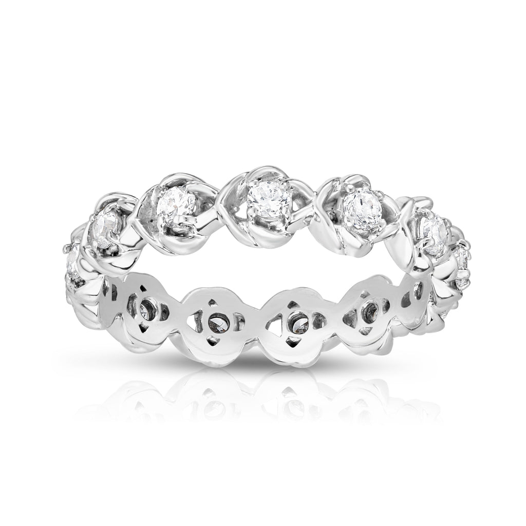 14K White Gold Diamond (0.50 Ct, G-H Color, I1-I2 Clarity) Eternity Ring