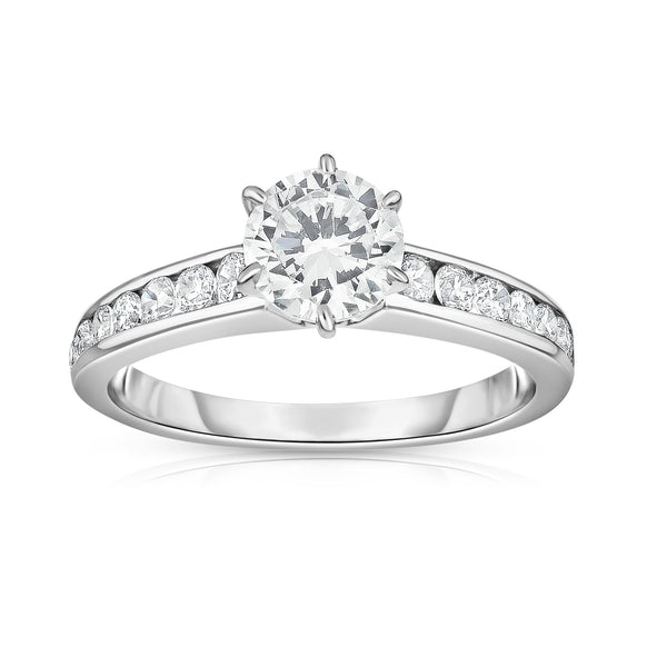 GIA Certified 14K White Gold Diamond (1.30 Ct, G Color, SI2 Clarity) Solitaire Ring