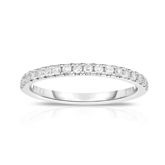 14K White Gold Diamond (0.35 Ct, G-H Color, SI2-I1 Clarity) Wedding Band