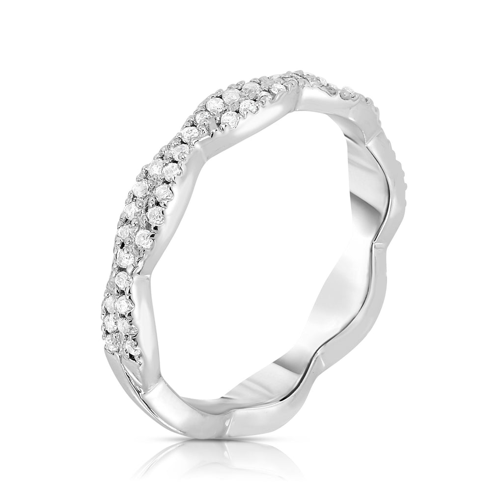 14K White Gold Diamond (0.33 Ct, G-H Color, SI2-I1 Clarity) Infinity Ring