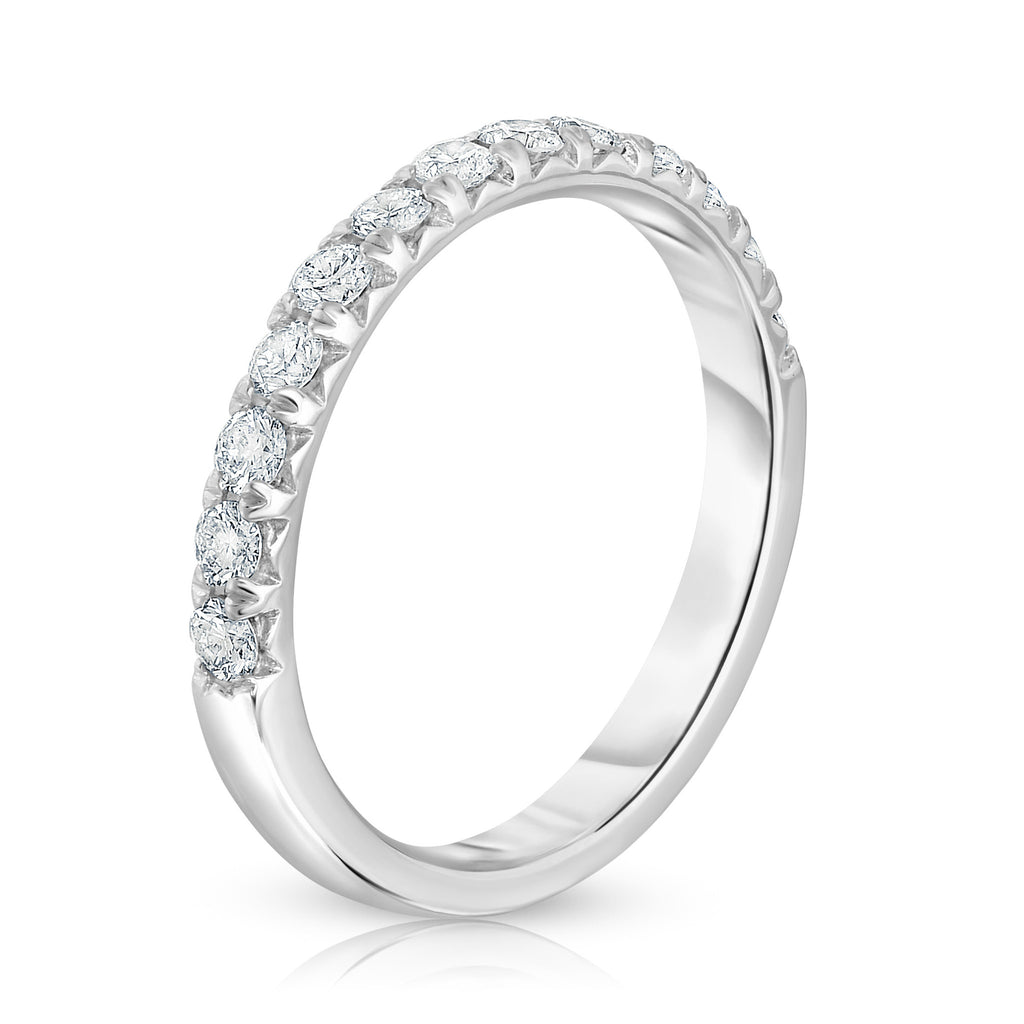 14K White Gold Diamond (0.45 Ct, G-H Color, I1-I2 Clarity) Wedding Band