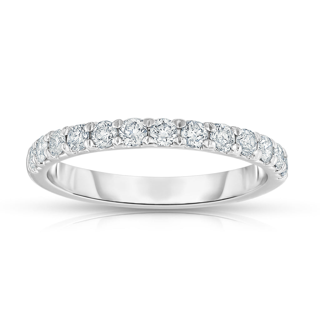 14K White Gold Diamond (0.65 Ct, G-H Color, SI2-I1 Clarity) Wedding Band