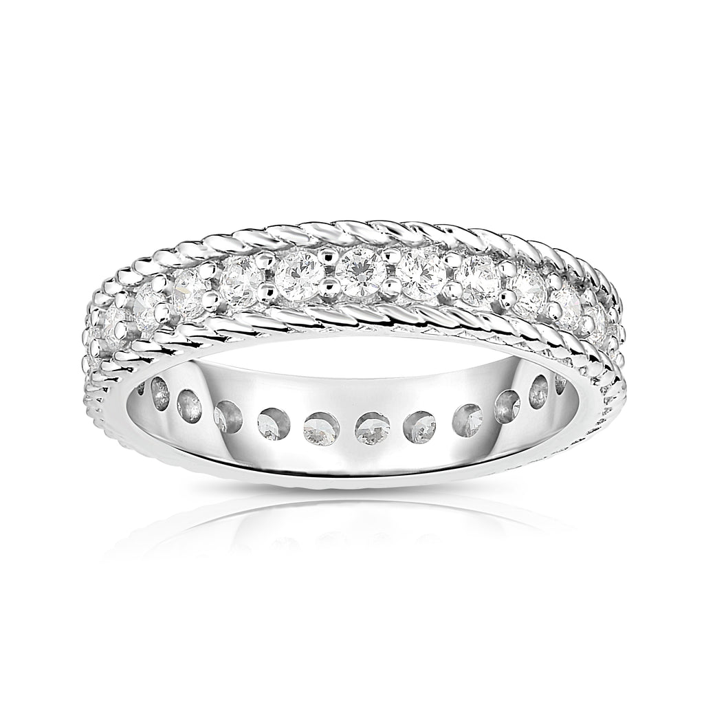Noray Designs 14K White Gold Diamond (0.65-0.85 Ct, G-H Color, SI2-I1 Clarity) Twisted Eternity Ring
