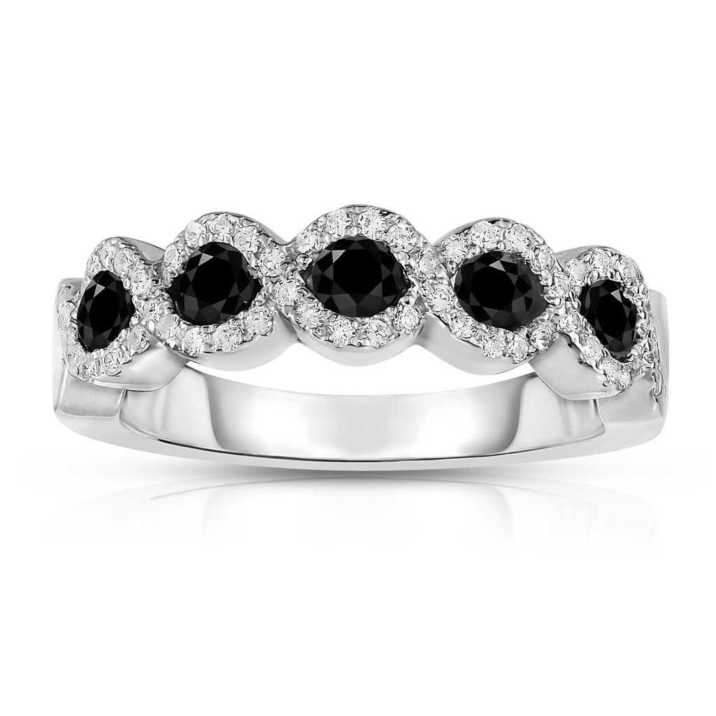 14K White Gold Black and White Diamond (0.35 Ct, G-H Color, SI2-I1 Clarity) Ring