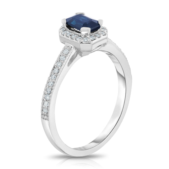 14K White Gold Emerald Cut Blue Sapphire & Diamond (0.15 Ct, G-H, SI2-I1) Ring