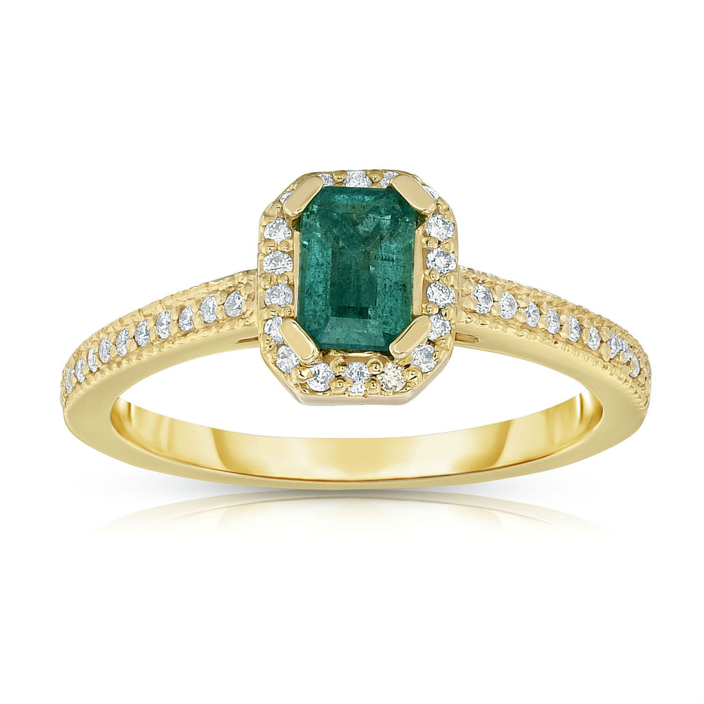 14K Yellow Gold Emerald Cut Emerald & Diamond (0.15 Ct, G-H, SI2-I1) Ring