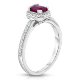 Noray Designs 14K White Gold Emerald Cut Ruby & Diamond (0.15 Ct, G-H, SI2-I1) Ring