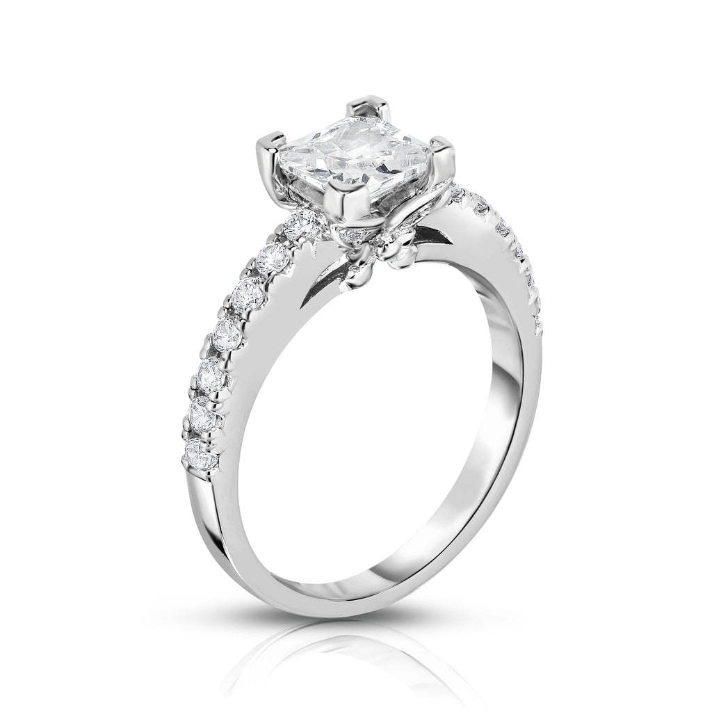 GIA Certified 14K White Gold Diamond (1.40 Ct, G Color, SI2 Clarity) Princess Solitaire Ring
