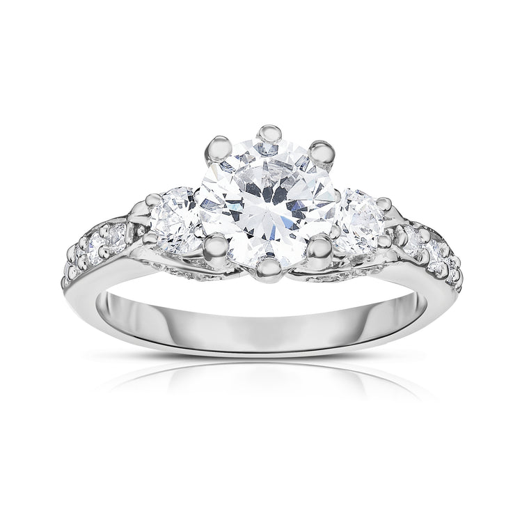 GIA Certified 14K White Gold Diamond (2 Ct, G Color, SI2 Clarity) Engagement Ring