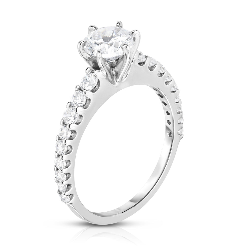 GIA Certified 14K White Gold Diamond (1.60 Ct, G Color, SI2 Clarity) Solitaire Ring