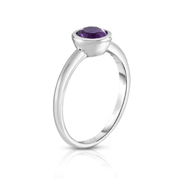 14K White Gold Bezel Set Gemstone (3/4 Ct) Ring