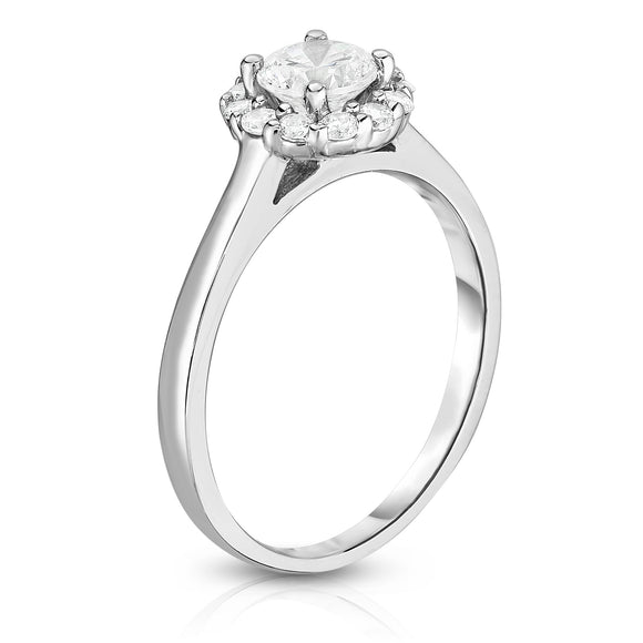 GIA Certified 14K White Gold Diamond (0.90 Ct, G Color, SI2 Clarity) Cluster Ring