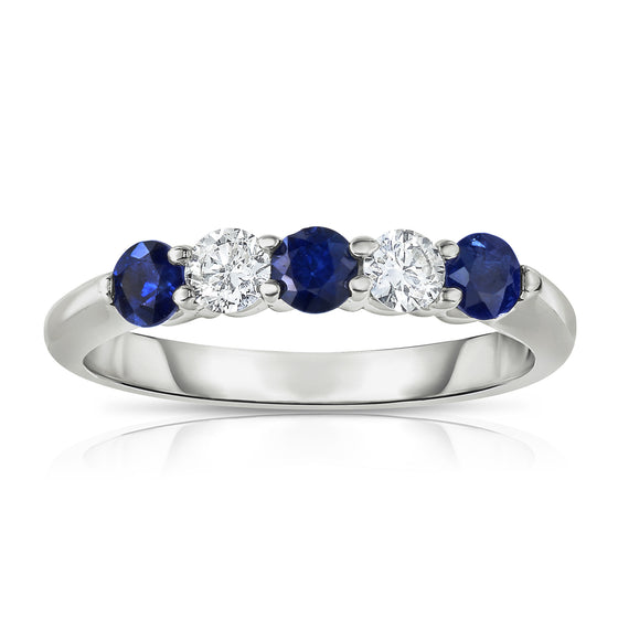 14K White Gold 5-Stone Blue Sapphire & Diamond (0.25 Ct, G-H Color, SI2-I1 Clarity) Ring