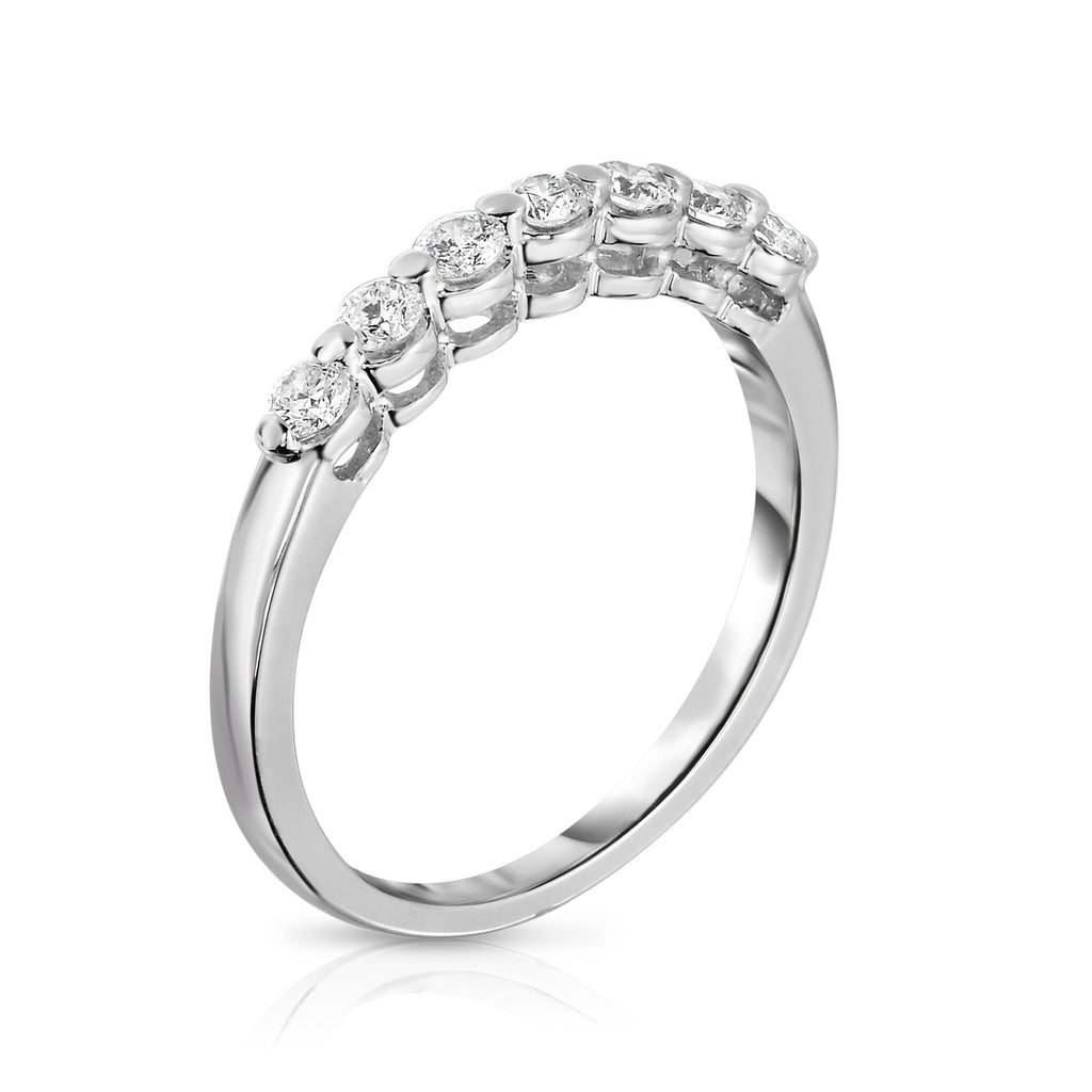 14K White Gold 7-Stone Single Prong Diamond (0.35 Ct, G-H Color, SI2-I1 Clarity) Ring