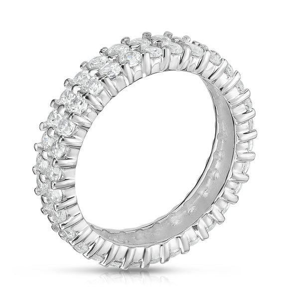 Noray Designs 14K White Gold 2 Row Diamond (1.65-1.90 Ct, G-H Color, SI2-I1 Clarity)  Eternity Ring