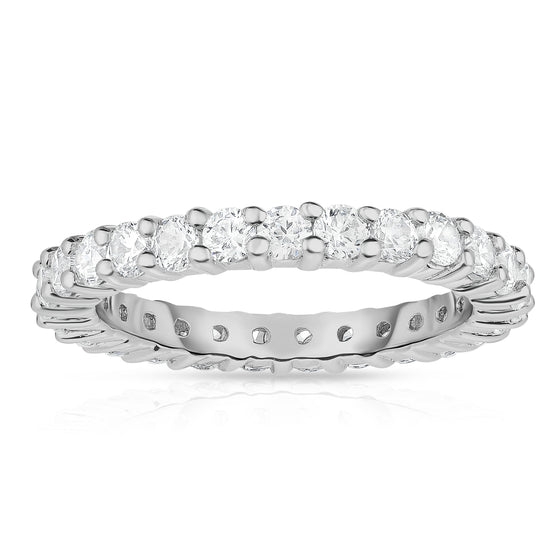 14K White Gold Diamond (1.25 Ct-1.40 Ct, G-H Color, SI2-I1 Clarity) Eternity Ring