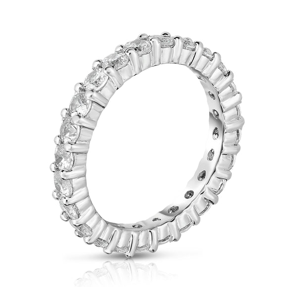 14K White Gold Diamond (1.50 Ct-1.75 Ct, G-H Color, SI2-I1 Clarity) Eternity Band
