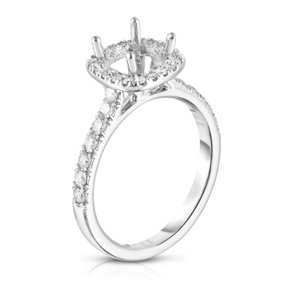 14K White Gold Diamond (0.55 Ct, G-H Color, SI2-I1 Clarity) Semi-Mount Ring