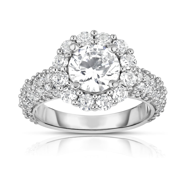 GIA Certified 14K White Gold Diamond (3.80 Ct, G Color, SI2 Clarity) Engagement Ring