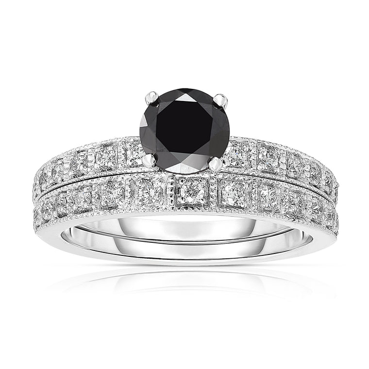 14K White Gold 1.20 TDW Black And White Diamond Engagement Ring Set