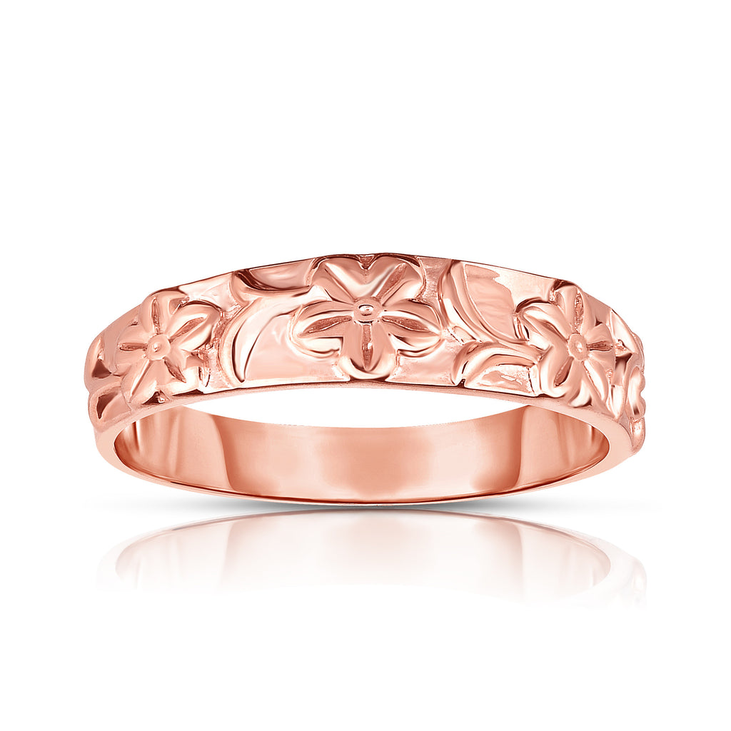 14K Gold Flower Design Wide Ring