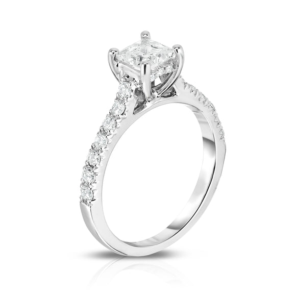 GIA Certified 14K White Gold Diamond (1.05 Ct, G Color, SI2 Clarity) Princess Solitaire Ring