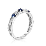 14K White Gold Blue Sapphire & Diamond (0.06 Ct, G-H, SI2-I1 Clarity) Stackable Ring