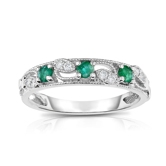 14K Gold Emerald & Diamond (0.06 Ct, G-H, SI2-I1 Clarity) Stackable Ring