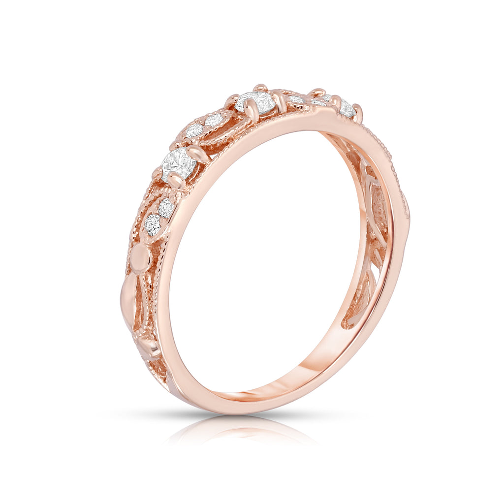 14K White, Yellow or Rose Gold (1/4 Ct, G-H, SI2-I1 Clarity) Stackable Ring
