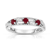 14K White Gold Ruby & Diamond (0.06 Ct, G-H, SI2-I1 Clarity) Stackable Ring
