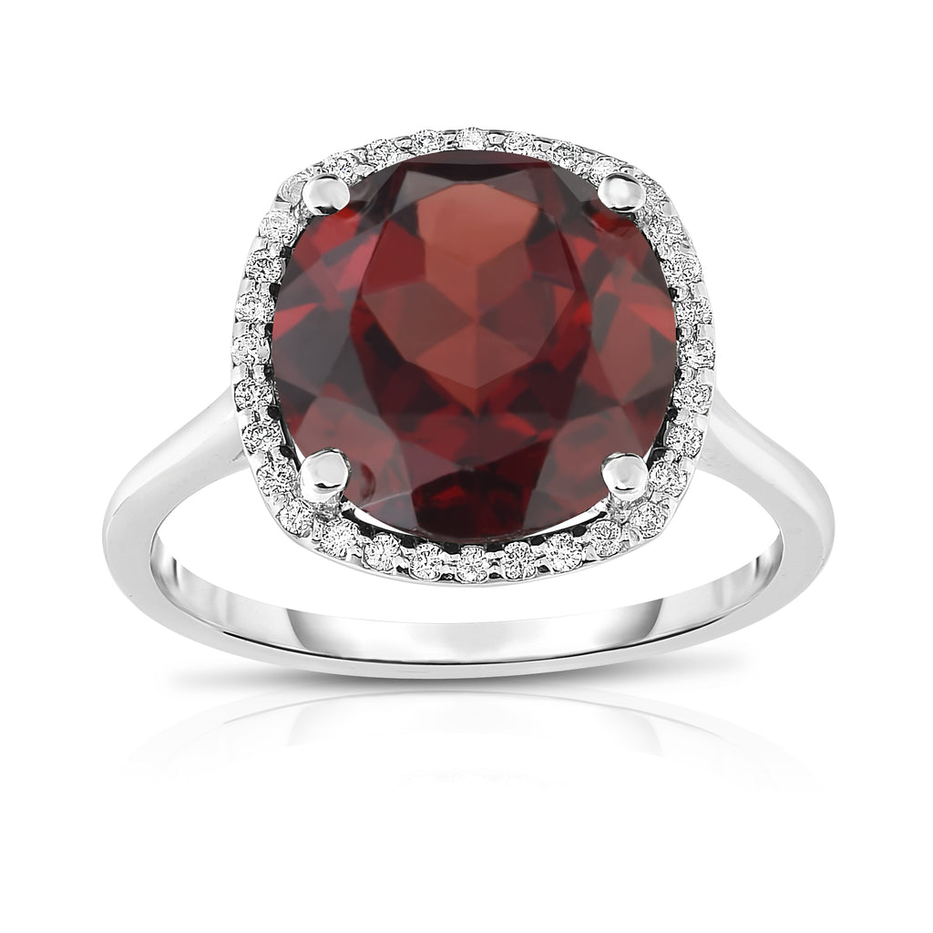 14K White Gold 11MM Gemstone and Diamond (0.18 Ct, G-H Color SI2-I1 Clarity) Ring
