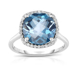 14K White Gold 11MM London Blue Topaz & Diamond Wedding Set