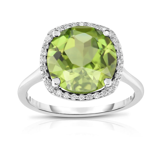 14K White Gold 8MM Gemstone and Diamond (0.18 Ct, G-H Color SI2-I1 Clarity) Ring