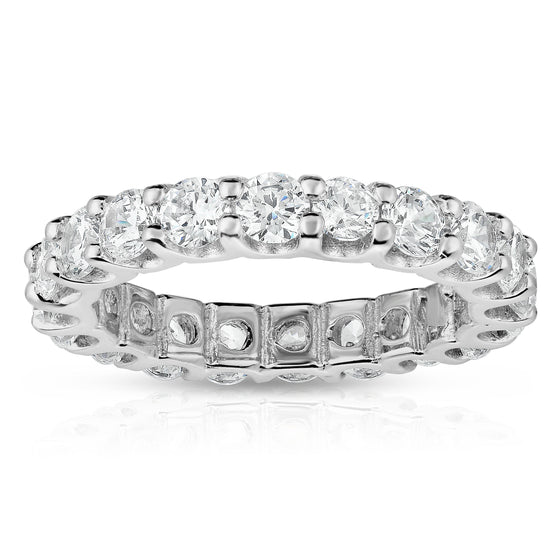 14K White Gold Diamond (2.85-3.15 Ct, G-H Color, SI2-I1 Clarity) Eternity Ring