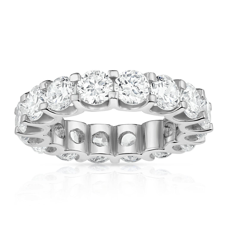 14K White Gold Diamond (5.25-5.95 Ct, G-H Color, SI2-I1 Clarity) Eternity Ring
