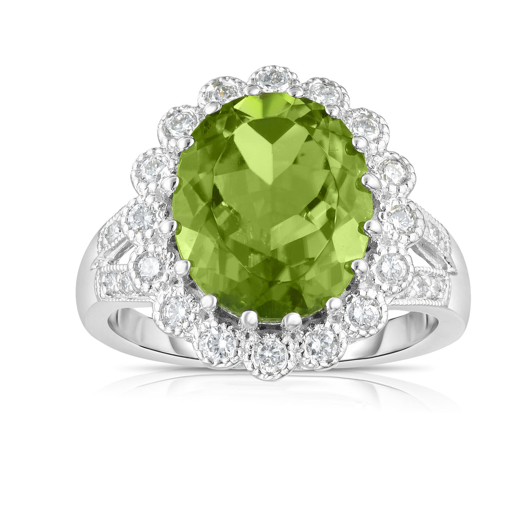 14K White Gold Peridot & Diamond (0.40 Ct, G-H Color, SI2-I1 Clarity) Anniversary Ring