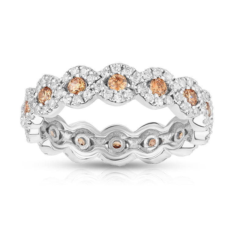 14K White Gold Champagne & White Diamond (1.00 Ct, Brown, G-H Color, SI2-I1 Clarity) Eternity Wedding Ring