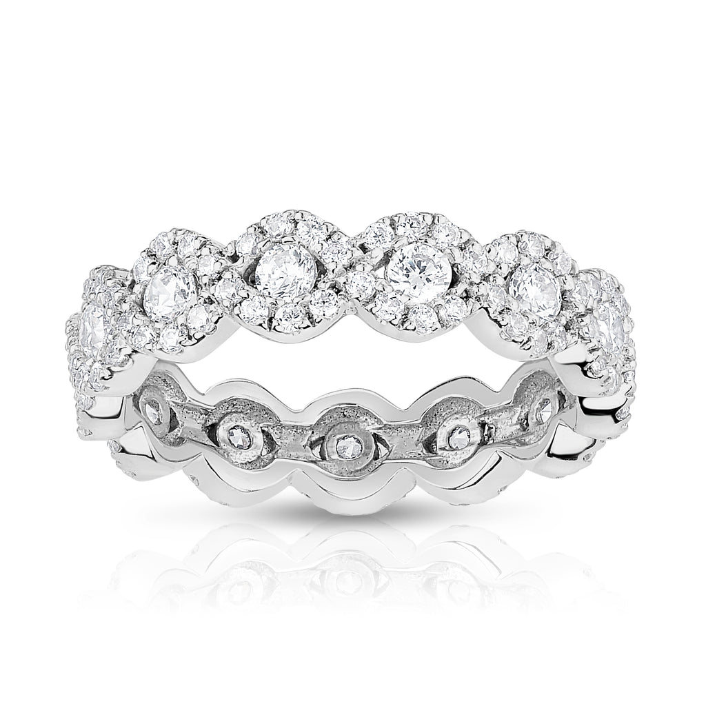 14K White Gold Diamond (1.00 Ct, G-H Color, SI2-I1 Clarity) Eternity Wedding Ring