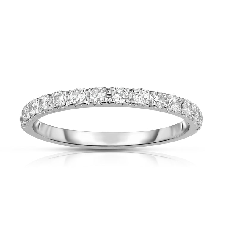 14K White Gold Diamond (0.38 Ct, G-H Color, SI2-I1 Clarity) Wedding Band