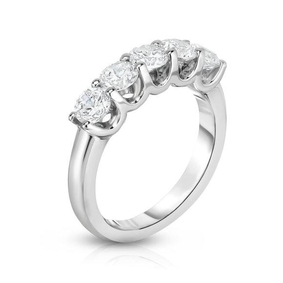 14K White Gold 5-Stone Diamond (1.25 Ct, G-H Color, SI2-I1 Clarity) Engagement Ring