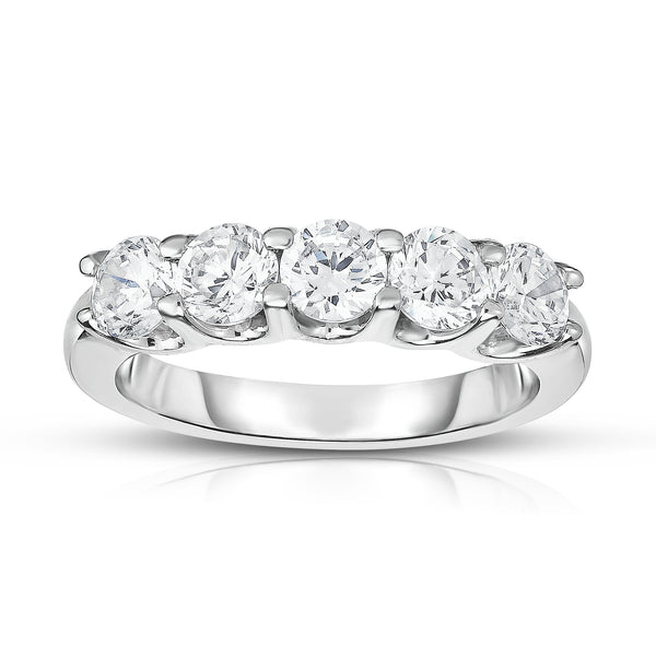 14K White Gold 5-Stone Diamond (1.25 Ct, G-H Color, SI2-I1 Clarity) Ring