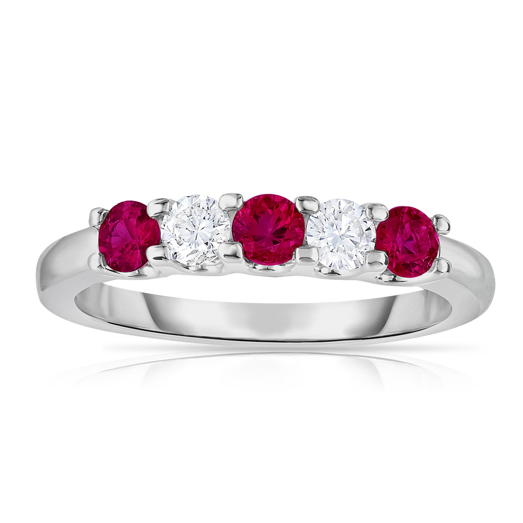 14K White Gold 5-Stone Ruby & Diamond (0.25 Ct, G-H Color, SI2-I1 Clarity) Ring