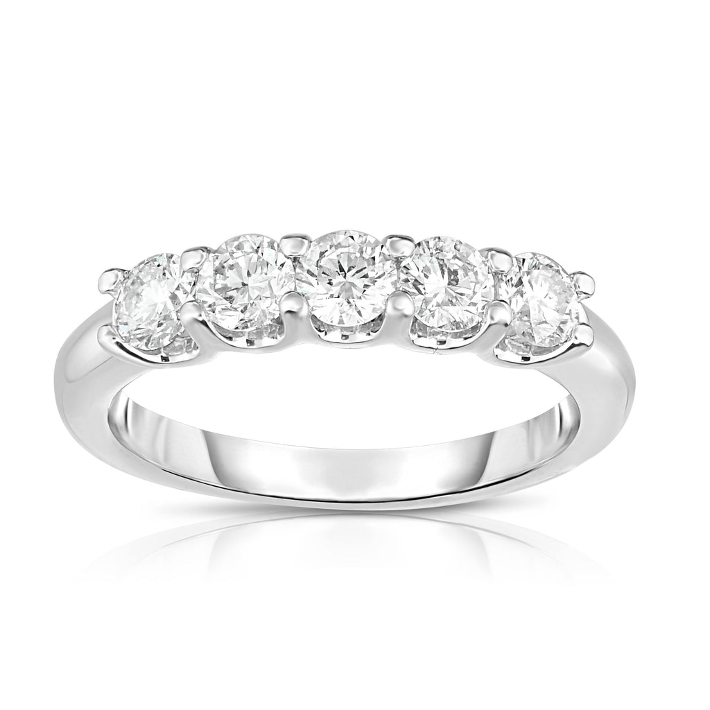14K White Gold Diamond (0.90 Ct, G-H Color, SI2-I1 Clarity) 5-Stone Ring