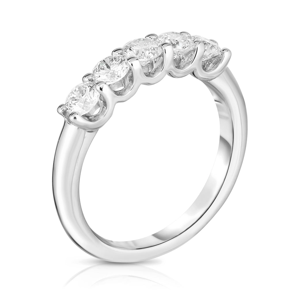 14K White Gold Diamond (0.90 Ct, G-H Color, SI2-I1 Clarity) 5-Stone Engagement Ring
